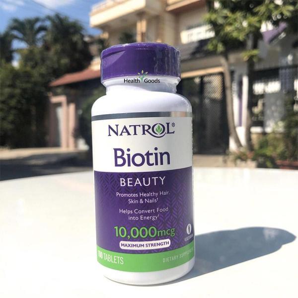 Viên uống hỗ trợ mọc tóc, hạn chế tóc gãy rụng Natrol Biotin 10000 mcg giá rẻ
