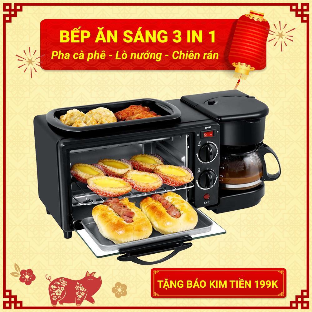 Bếp Ăn Sáng 3 in 1 Pha Cà Phê - Lò Nướng - Chiên Rán