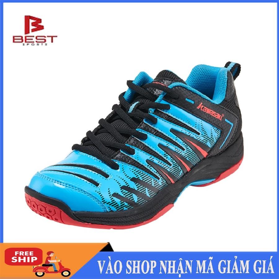 Giày cầu lông Kawasaki K161 Blue mẫu mới, chống lật cổ chân dành cho nam và nữ, màu xanh - Giày chơi cầu lông chuyên nghiệp - Giày bóng chuyền nam nữ