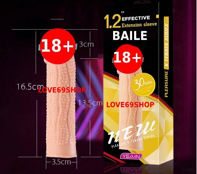 (HOT) Bao cao su đôn dên Gai Li Ti  tăng kích thước Baile cao cấp Silicon siêu mềm 1,2