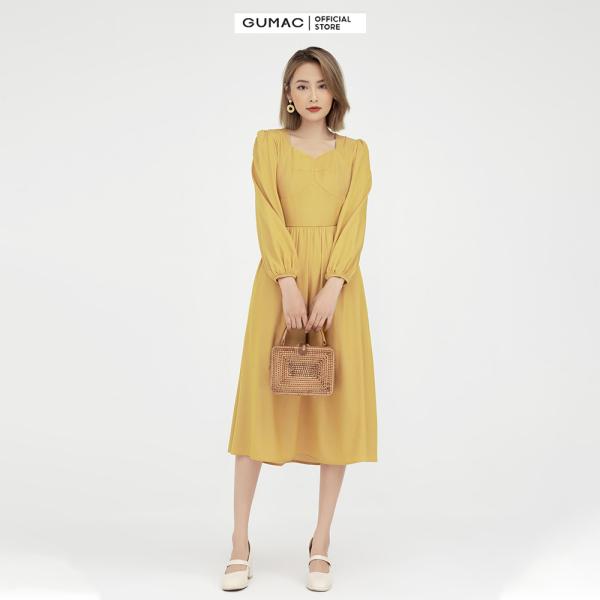 Nơi bán Đầm nữ tay dài rã cúp GUMAC mẫu mới DB502 Chất Liệu cotton chéo form A dài hơi xòe style thanh lịch