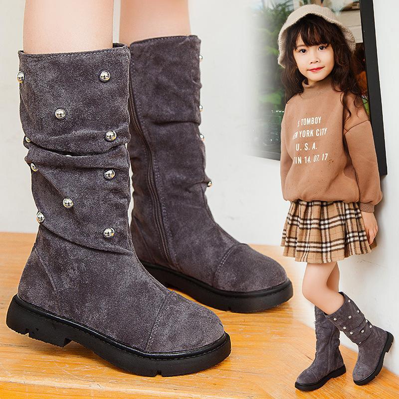 Giá bán Giày boot bé gái bốt cao cổ da lộn phong cách Hàn Quốc sang chảnh siêu hot