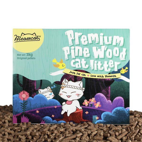 [HCM]Cát gỗ dạng viên nén vệ sinh cho mèo Premium Pine Wood Cat Litter 3kg khử mùi cực tốt tiết kiệm chi phí