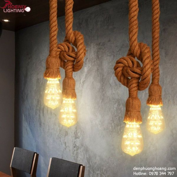 Đèn thả: Đèn thả dây thừng đôi mỗi dây 1m (Chưa bóng)