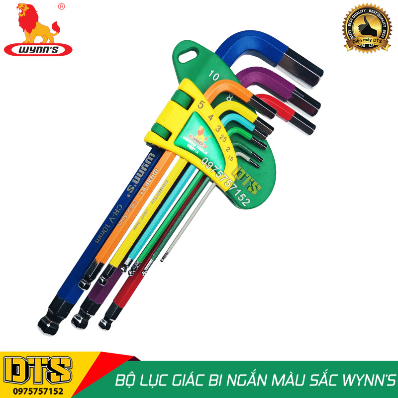 Bộ lục giác đầu bi 9 món ngắn (nhiều màu sắc) WYNN'S W9921A, bộ khóa lục giác thép cứng cao cấp CR-V hàng chất lượng cao