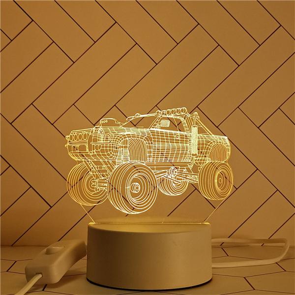 [Nhiều Mẫu] Đèn Led Mica hình Siêu Xe Lamborghini, Xe Bán Tải, Xe Đạp, Thuyền- VENADO Đèn ngủ mica led 3D loại giắc cắm 2 chân 3 màu