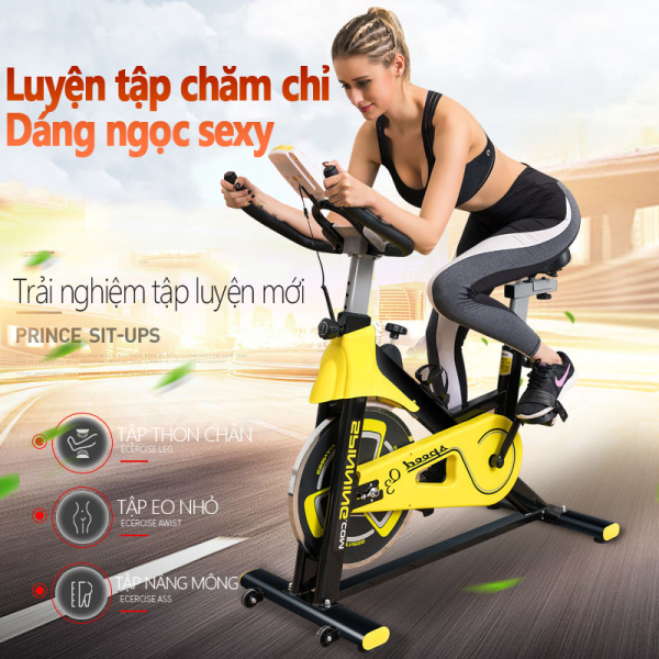 Xe đạp tập gym tại nhà màu vàng phối đen khỏe khoắn dụng cụ thập gym máy tập gym tại nhà TopOne2020