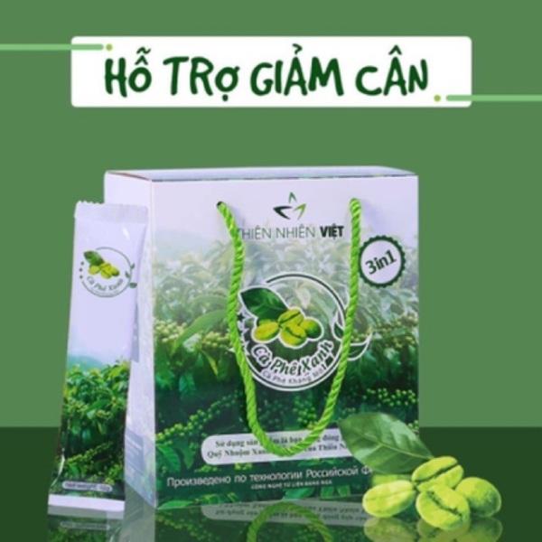 Cà phê xanh giảm mỡ Thiên Nhiên Việt hộp 30 gói- cà phê xanh kháng mỡ- cà phê giảm cân