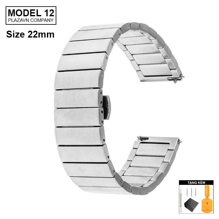 Nơi bán (size 22mm) Dây đồng hồ thép mặt bóng không gỉ inox model 12 kiểu khóa bấm chống han gỉ chống bay màu