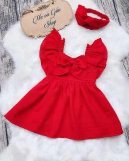 Đầm váy bé gái, váy công chúa bé gái, váy bé gái kèm băng đô từ  sơ sinh 3kg đến  8 tuổi 30 kg  màu đỏ thun cotton 100%
