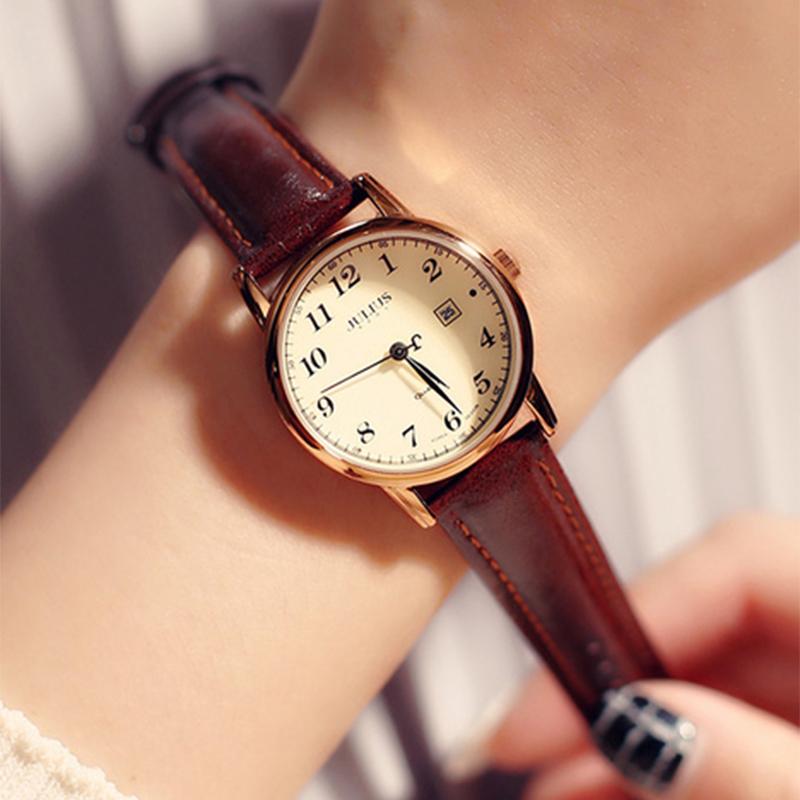 Đồng hồ julius Hàn Quốc JA-508LC dây da có lịch ngày