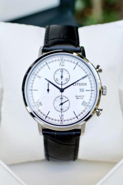Đồng hồ Nam Citizen Chronograph AN3610-12A Size 41mm,Mặt trắng,Lịch ngày-Máy Pin Quartz-Dây da đen cao cấp