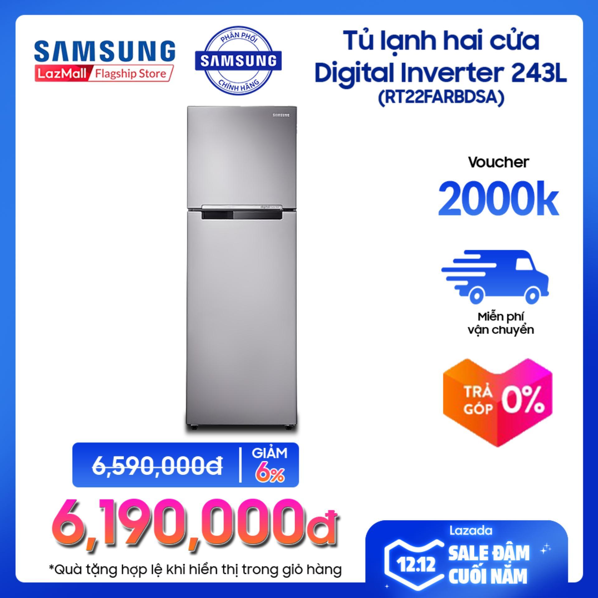 Tủ Lạnh Hai Cửa Samsung Digital Inverter RT22FARBDSA/SV 234L (Đen) - Hãng Phân Phối Chính Thức, Tiết Kiệm điện Giảm Duy Nhất Hôm Nay
