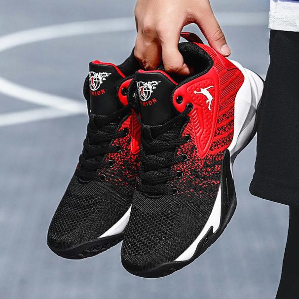 Giày bóng chuyền nam - Giày bóng rổ nam - Giày sneaker giày thể thao nam đế cao chuyên nghiệp JY HAMISHU mầu đỏ đen giá rẻ