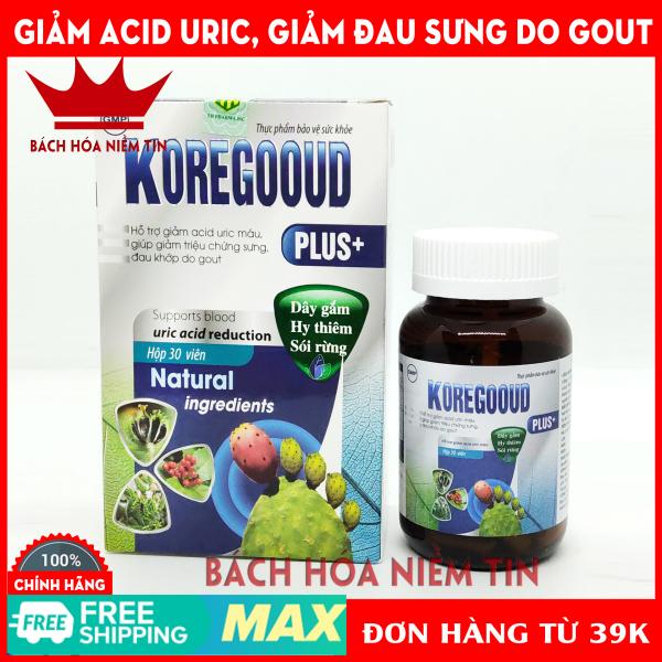 Viên uống giảm Gút KORE GOOUD PLUS - Thành phần 100% thảo dược - giảm acid máu, giảm đau, sưng do gout - Hộp 30 viên chuẩn GMP