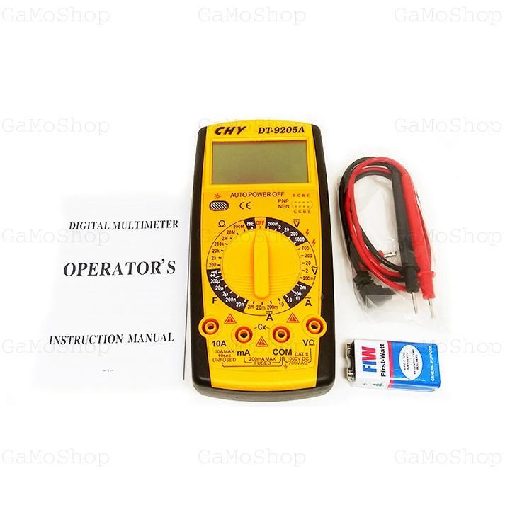 Đồng hồ đo vạn năng CHY DT-9205A kèm Pin  (Vàng) BaoNhi