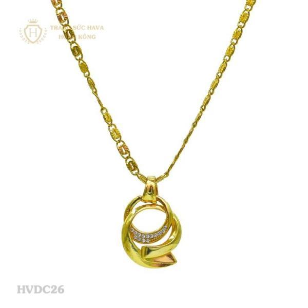 Vòng Cổ, Dây Chuyền Nữ Mặt Đính Đá Titan Xi Mạ Vàng - Trang Sức Hava Hồng Kông