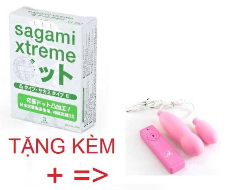 Bao cao su Sagami Xtreme Dotted hộp 3 cái tặng mát xa siêu mềm cao cấp