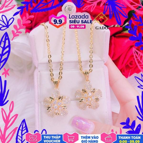 Dây chuyền nữ DM033, dây chuyền mạ vàng thật cao cấp chạm khắc hoa văn tinh tế xinh đẹp lấp lánh - đeo đi đám cưới vô cùng quý phái