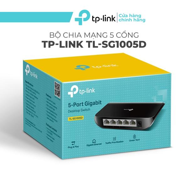 Bảng giá Ổ chia mạng 5 cổng TP-Link TL-SG1005D - Switch Gigabit TPLink 5 port tiện dụng, Bộ chia mạng 5 cổng chỉ cầm cắm và sử dụng, không cần cấu hình. Phong Vũ