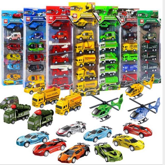 Bộ 6 món ô tô đồ chơi máy bay chạy đà cho bé - Đồ chơi mô hình sưu tập RF300