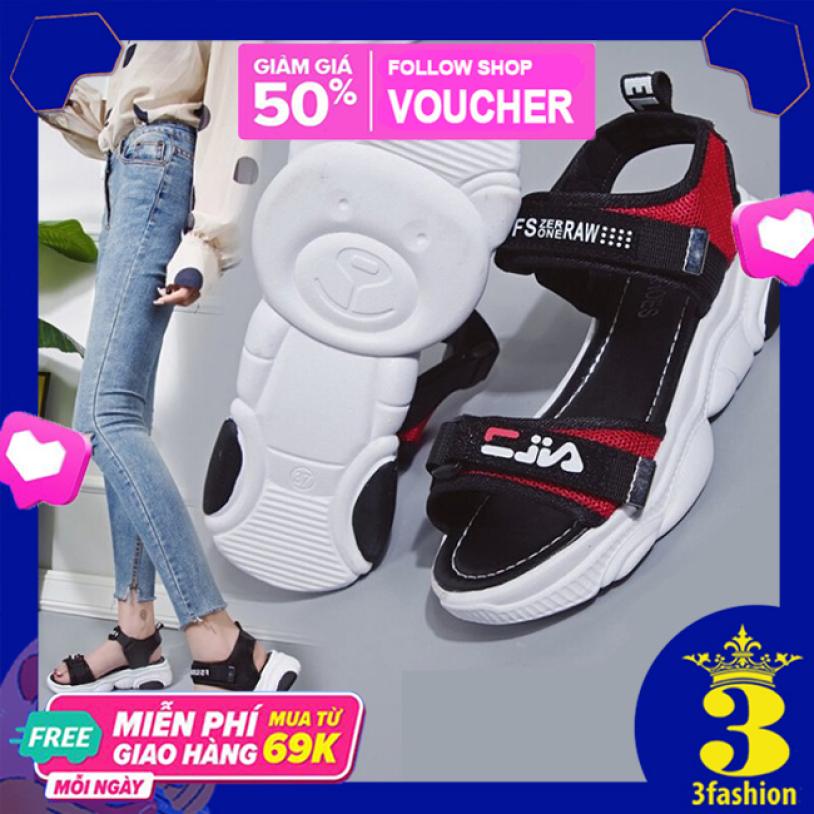 Giày Sandal Nữ 3Fashion Đế Gấu Cao Quai Ngang Phong Cách Hàn Quốc - 3136 giá rẻ