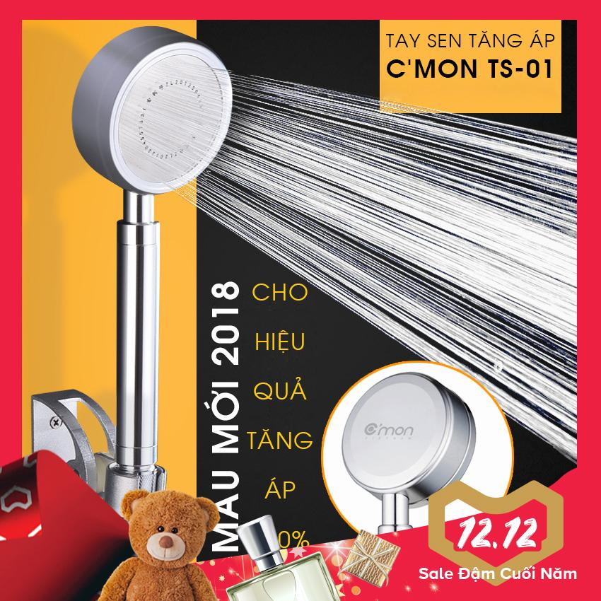 Vòi sen siêu tăng áp 400% C'MON TS-01 - Mẫu mới 2018 (bạc)