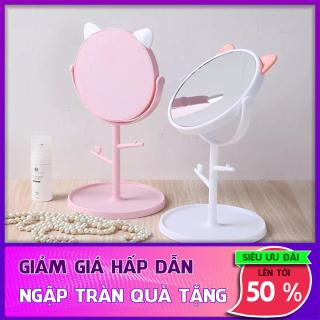 Gương Để Bàn Tai Mèo Dễ Thương Kèm Móc Treo Phụ Kiện Xoay 360 Độ - Gương Trang Điểm Mini Để Bàn thumbnail