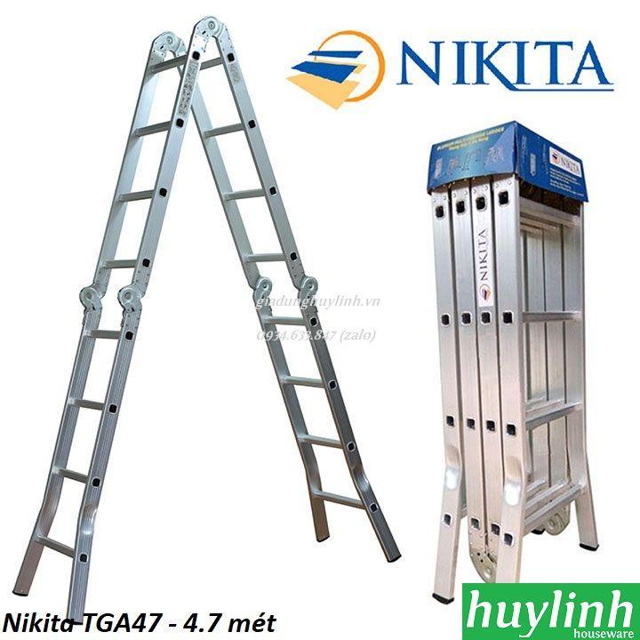 Thang nhôm gấp 4 đoạn Nikita TGA47 - 4.7 mét