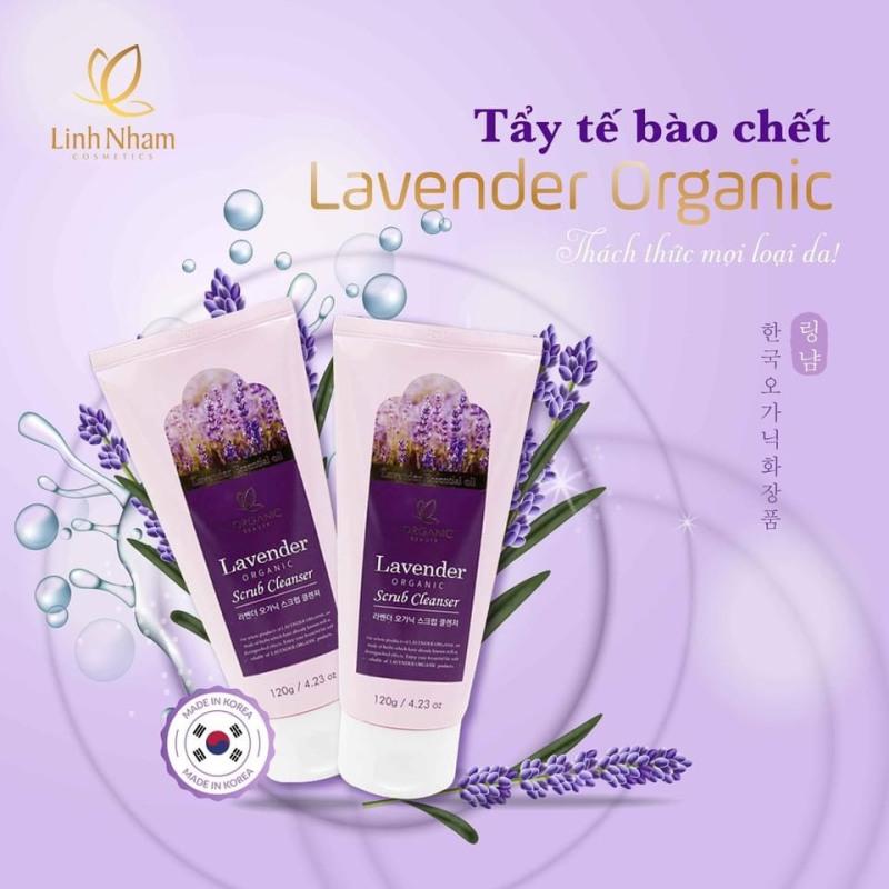 Tẩy tế bào chết, gen tẩy tế bào chết da mặt Lavender organic nhẹ nhàng lấy đi những tế bào chết, chất bẩn, cặn bả trên da mặt, giúp da sáng mịn, đều màu và hấp thu dưỡng chất tối đa 120g – Shop Linh Nhâm Cosmetics Mien Nam