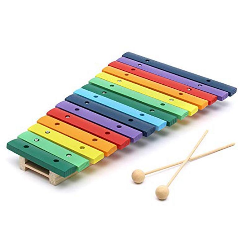 15 Tone Colorful Wooden Glockenspiel Xylophone Educational Percussion Musical Instrument Toy Education Musical Instruments