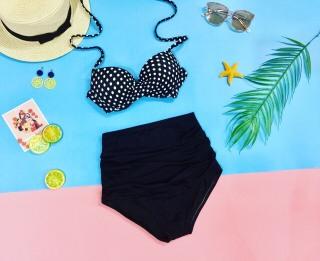 Bikini hai mảnh áo chấm bi cạp cao thumbnail