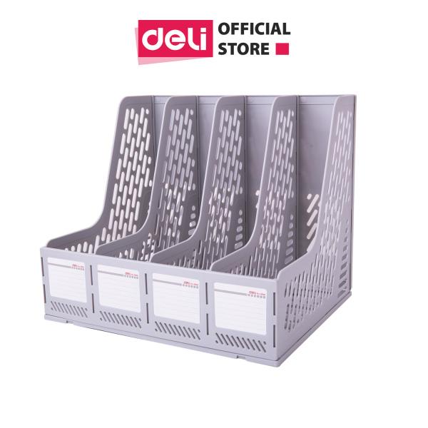 Giá tài liệu 4 ngăn đứng Deli - nhựa PP - Ghi xám - E9846