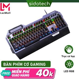 Bàn phím cơ gaming RGB SIDOTECH K100 dòng bàn phím máy tính chơi game chính hãng trục cơ học 104 phím có kê tay chống mỏi, không phải giả cơ có núm xoay đa phương tiện công thái học điều chỉnh tốc độ gõ - Hàng Chính Hãng thumbnail