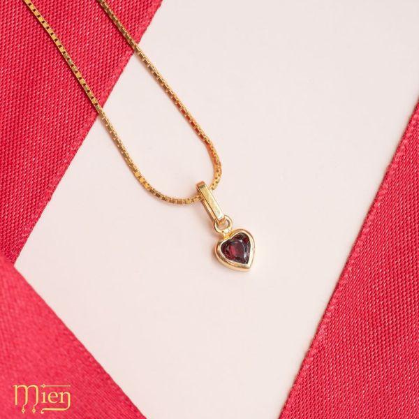 [HCM]Mặt Dây Chuyền Lắc Tay Charm Lắc Chân Bạc Đá Garnet Trái Tim Humble Heart Signature Mien Jewelry Mặt Lắc Tay Nữ Bạc 925