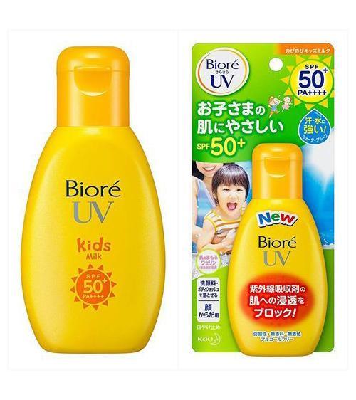 Chống nắng Biore Uv Kids Milk SPF 50++ 90ml sản xuất tại Nhật an toàn dành cho trẻ em, có Video SP