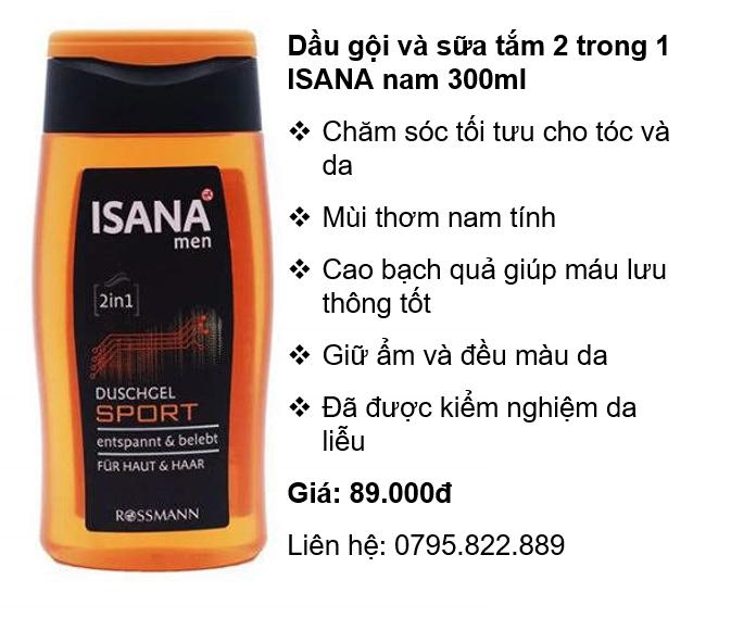 Dầu gội và sữa tắm 2 trong 1 ISANA nam 300ml (Phân phối chính hãng) cao cấp
