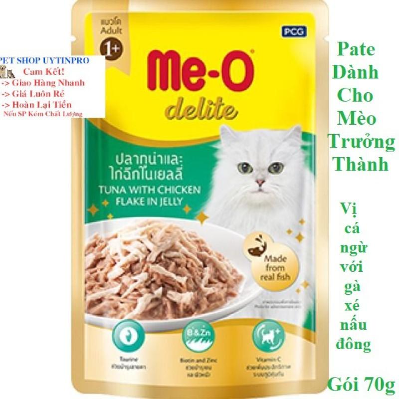 THỨC ĂN CHO MÈO Me-O delite Dạng Pate Vị cá ngừ với gà xé nấu đông Gói 70g Xuất xứ Thái Lan