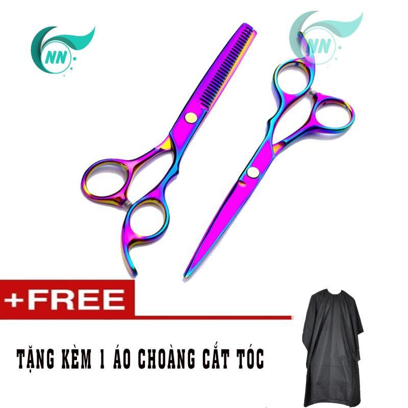 Đôi kéo cắt tóc màu Titanium + Tặng kèm 1 áo choàng cắt tóc giá rẻ