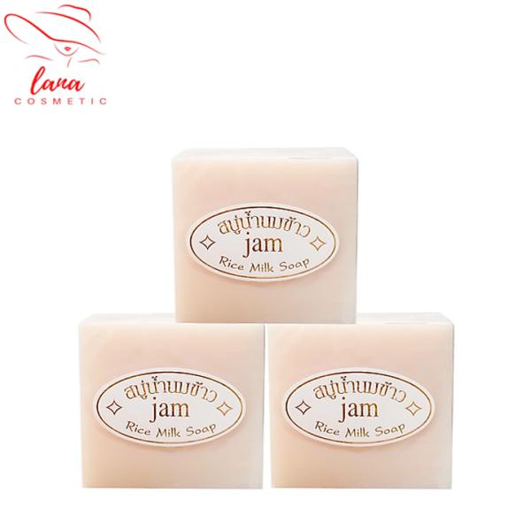 3 cục Xà phòng trắng da cám gạo Thái Lan JAM RICE MILK SOAP giá rẻ