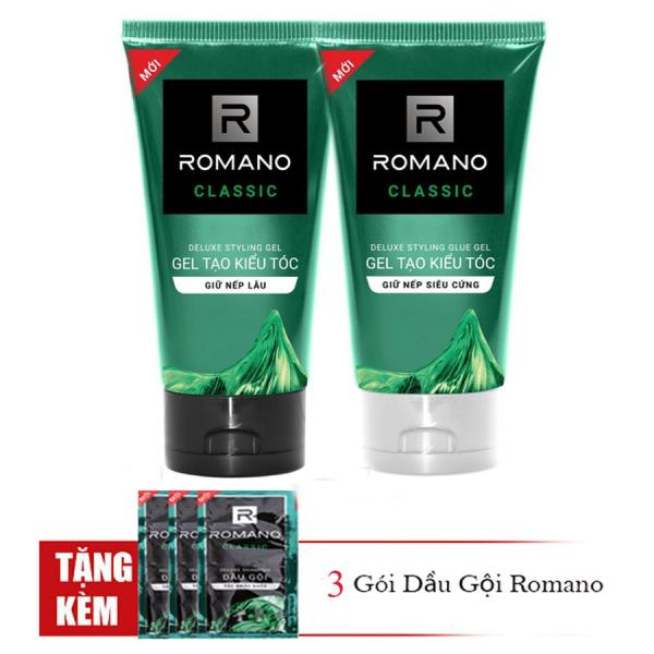 Romano: Combo Gel Vuốt tóc giữ nếp lâu mềm tóc150ml và Gel vuốt tóc siêu cứng 150ml +Tặng 3 gói dầu gội
