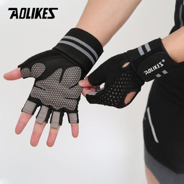 Bảng giá Găng tay nửa ngón tập gym có cuốn cổ-Găng tay tập thể hình-Găng tay tập gym Aolikes AL113B