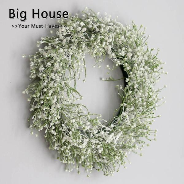 Big House Artificial Babysbreath Wreath Garland For Party Weddings Front Door Decoration