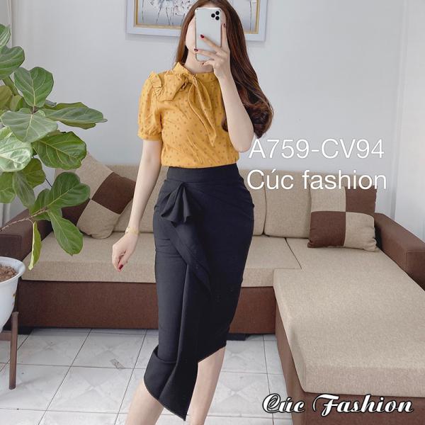 Chân váy bút chì Cao Cấp Dáng Công Sở Cúc Fashion bèo dài CV94