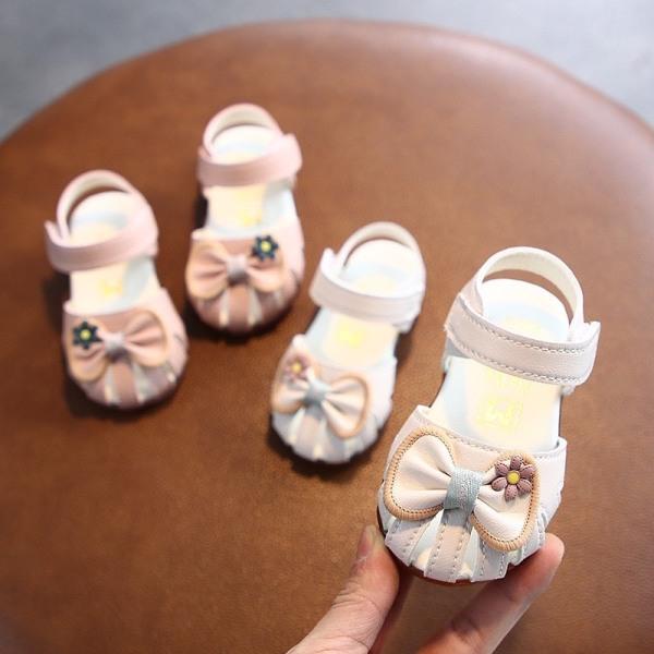 Giá bán k9938# Giày bút bê nơ hoa Bé gái chống trơn CAO CẤP