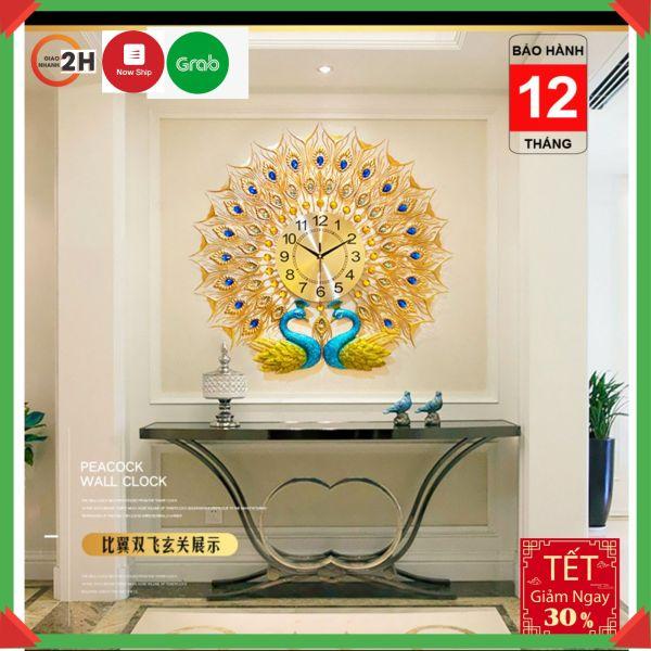 Nơi bán [GIÁ SIÊU SỐC ] Mẫu đồng hồ treo tường đẹp đôi hình chim công ( khổng tước)  (WM264) tặng bộ đồng hồ kim trôi