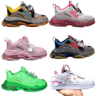 Giày nữ sneaker thể thao nam nữ Ba.Len.cia.ga đế khí đế tách phân tầng chuẩn chữ & N.i.ke màu trắng hồng m2 thumbnail