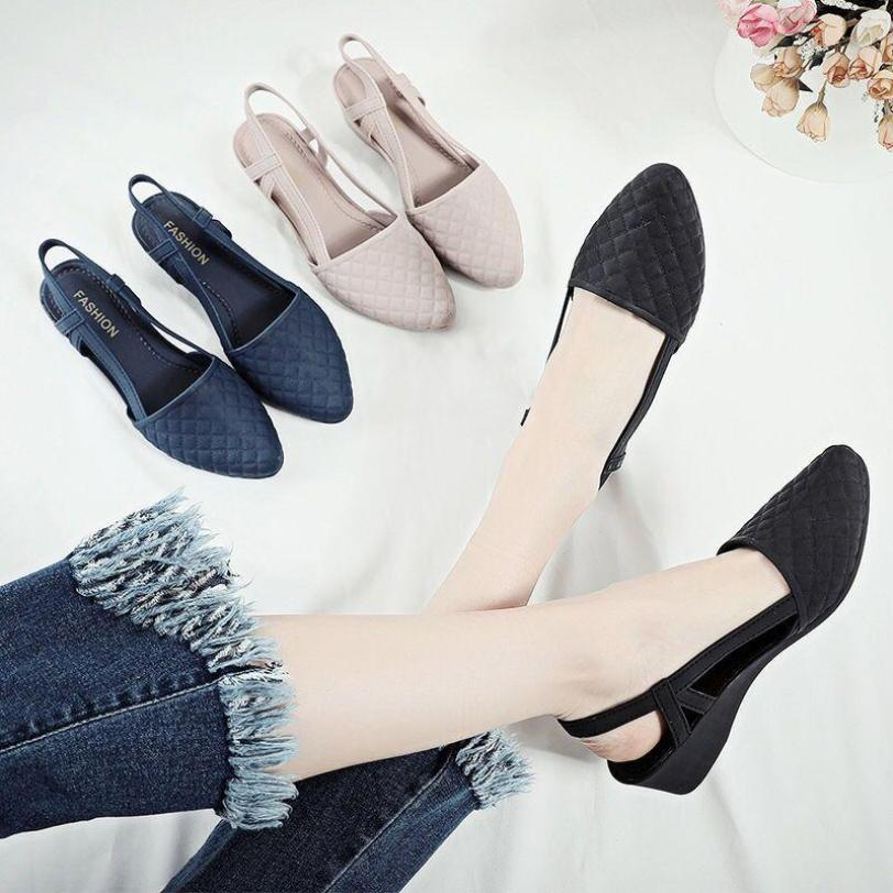 Sandal nữ 5 phân phong cách Hàn Quốc màu đen kem size 36 đến 40 V183 giá rẻ
