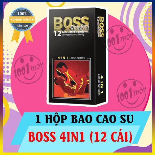 [ 12 BCS ] hộp Bao cao su Boss 4 in 1 kéo dài thời gian - Gân Gai hộp 12 BCS [1001mon] nhập khẩu