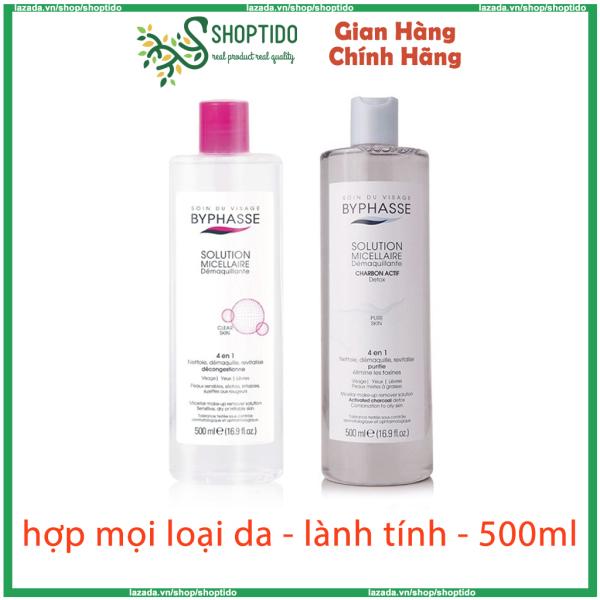Nước tẩy trang Byphasse micellar make up remover solution 500ml nắp hồng NPP Shoptido cao cấp